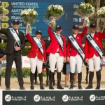 Team USA won the Challenge Cup at the Furusiyya FEI Nations Cup Jumping Final, from left, Chef d'Equipe Robert Ridland with Margie Engle, Beezie Madden, Lauren Hough and McLain Ward.