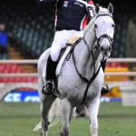 Oliver Townend enjoys gives the thumbs-up on Flint Curtis after an Express Eventing win in Cardiff, Wales, in 2008.