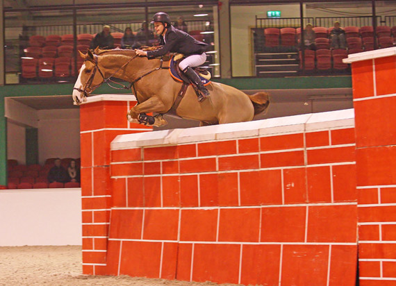 Christopher Megahey and Seapatrick Cruise Cavalier clear the wall to win the Emerald International Puissance.