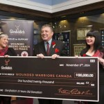 Beth-Anne Thomas, left, who is national brand manager for Glenfiddich in Canada, and Beth Havers, Glenfiddich brand ambassador, present Phil Ralph, the national program director with Wounded Warriors Canada, with their annual fundraising donation to support the Can Praxis Equine therapy program. The presentation was made, at the Royal Canadian Military Institute in Toronto late last week. Photo: Glenfiddich