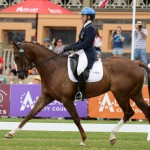 Megan Jones is in the lead after the dressage phase of FEI Classics at the Australian International 3 Day Event in Adelaide with Kirby Park Allofasudden.