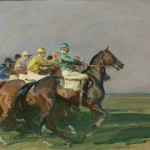 The exhibition includes an Alfred Munnings painting of a race start, entitled simply The Start.
