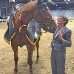 Iron Mark's owner June Berrington accepted the trophy alongside Katie Laurie after their win in the latest leg of the FEI World Cup New Zealand league.