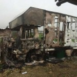 The aftermath of the fire, which was lit after riding gear was stolen from the nearby stable. Photos: Durham Constabulary