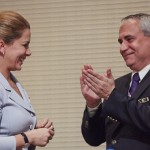 Princess Haya pictured with the newly elected FEI President Ingmar De Vos) on December 14, the day she stepped down as the FEI President after eight years in the role. Princess Haya handed the FEI Presidential pin over to the new President during a brief ceremony which followed the General Assembly.