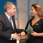 FEI President HRH Princess Haya received the Trophy of the International Olympic Committee from IOC President Thomas Bach at the 127th Session of IOC in Monaco on Tuesday.