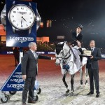 Spain's Sergio Alvarez Moya and Carlo pictured with Chief Steward Matheus Locher, left, and Charles Villoz, Longines' Vice-President and Head of International Sales, after winning Sunday's tenth leg of the Longines FEI World Cup Jumping 2014/2015 Western European League at Zurich, Switzerland.