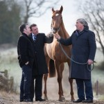 Annagh Haven's jaw was repaired thanks to cutting-edge technology pioneered in Ireland. Pictured at the Oristown, County Meath, property were Annagh Haven lies are, from left, Ireland's Minister for Jobs, Enterprise and Innovation Damien English, Professor Fergal O'Brien, who is deputy director of AMBER, and Laurence Mulvany, who owns the filly.