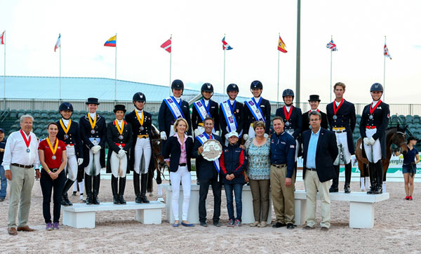 On the podium for the second leg of the FEI Nations Cup Dressage 2015 series in Wellington, USA