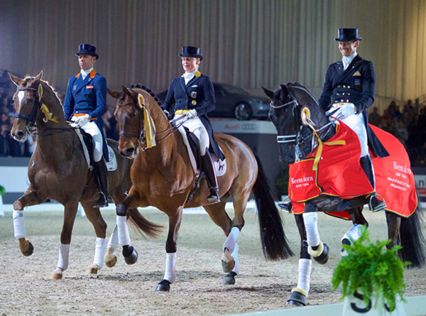 The top three in the  's-Hertogenbosch World Cup dressage round, from left, third-placed Hans Peter Minderhoud/Glock's Flirt from The Netherlands, runners-up Isabell Werth/Don Johnson FRH from Germany and winners Edward Gal/Glock's Undercover from The Netherlands.