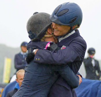 Winner Holly Woodhead, right, congratulates her friend Dani Evans  on her second and third places.