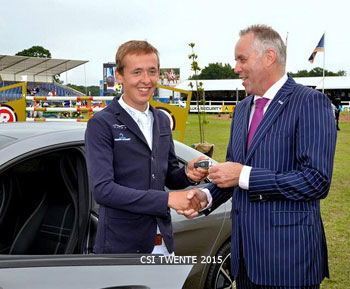 Bertram Allen receives the keys to his new Mercedes for winning the Netherlands Grand Prix.