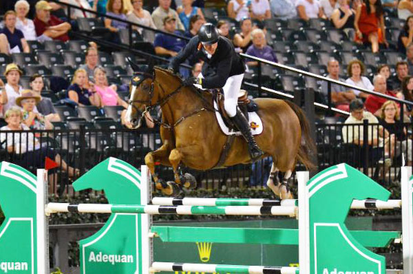 David Blake and Binkie winning Saturday night's Grand Prix at Tryon.