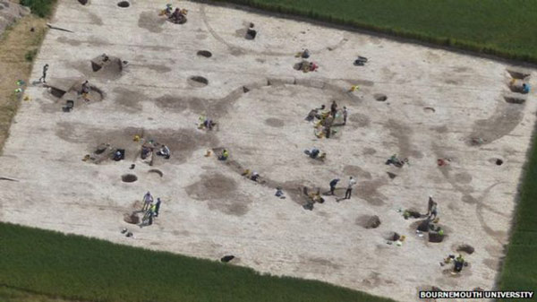 An aerial view of the dig site. Photo: Bournemouth University