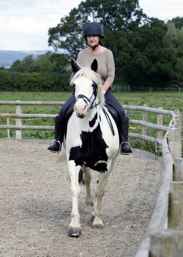 Janice Bury first rode on holiday in Portugal and was tempted to Tumpy Green Equestrian Centre's #GiveHorsesAGo day to try again.