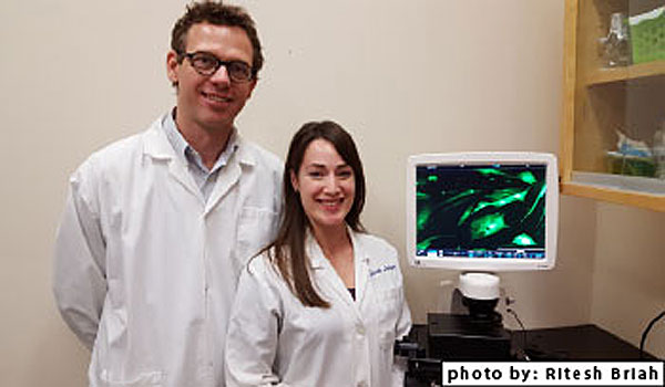 """It is exciting working with a really good team of students making significant contributions,"" say Dr Koch, photographed with doctoral candidate Sarah Lepage. Photo: Ritesh Briah"