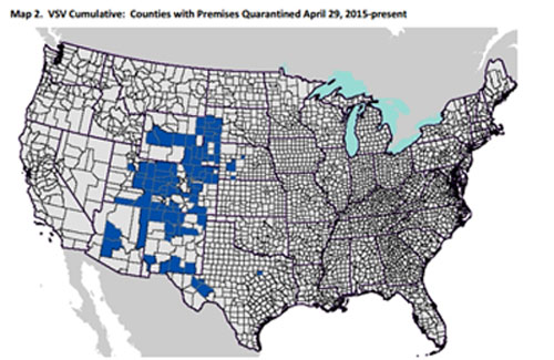 Counties affected during the outbreak, which began late in April last year, are highlighted in blue. Image: APHIS